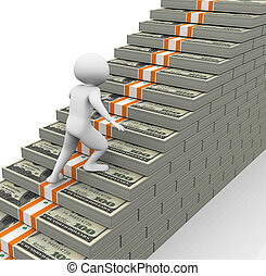 concept of earnings growth - 3d man running on dollar stairs