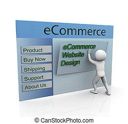 Concept of secure ecommerce web design - 3d man building...