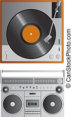 Old School Music Players - A vector vintage turntable and a...