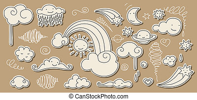 Cute sky doodle with clouds, rainbow, sun, moon and stars.