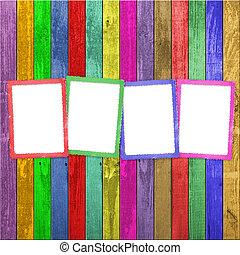 Quatro, Multicolored, bordas, madeira, fundo