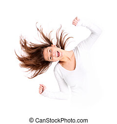 Crazy woman - A portrait of a beautiful young woman with...