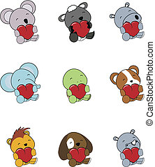 valentine animals set01 - valentine animals set in vector...