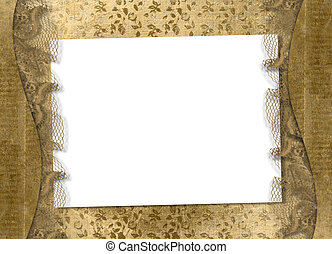 Old grunge paper on the abstract background with lace