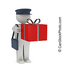 receiving a gift - one postman that deliver a gift or a...