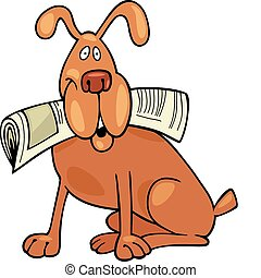 Dog with newspaper - Cartoon illustration of Dog with...