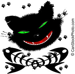 black cat - on an abstract background of a grotesque face...