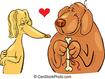 Dogs in love - Cartoon illustration of dogs in love