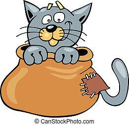 Cat in sack - Cartoon illustration of Cat in sack