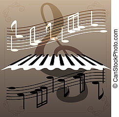 piano keys - on an abstract background of a piano keys,...