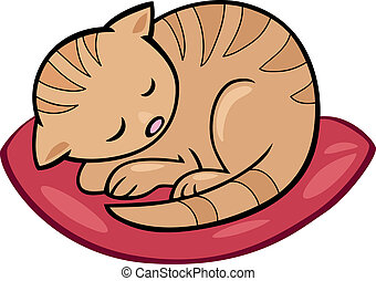 sleeping kitten - Cartoon illustration of sleeping kitten