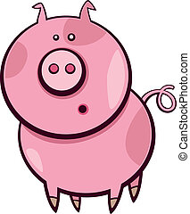 cartoon pig - Cartoon illustration of funny surprised pig