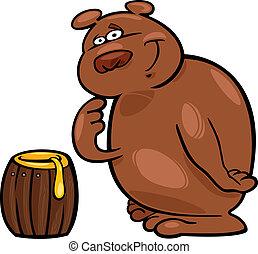 Bear and honey - Cartoon illustration of bear and honey