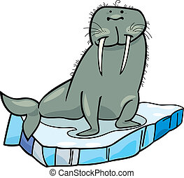 cartoon Walrus on floating ice - cartoon illustrationof...