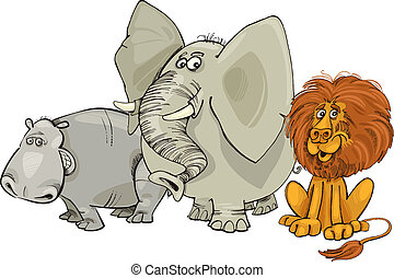 african animals - Cartoon illustration of african animals...