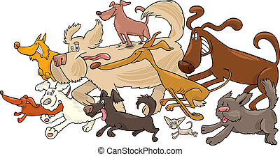 running dogs - Cartoon illustration of running dogs