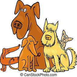 Five funny Dogs - cartoon illustration of five funny dogs