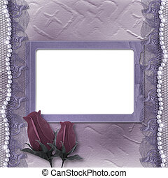 Grunge lilac card for invitation or congratulation with pearls, rose and lace