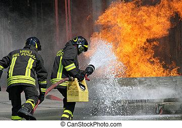 bomberos, fuego, estación