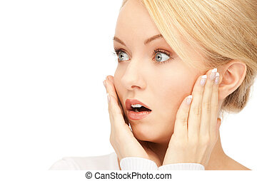 surprise - bright picture of woman with expression of...