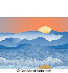 Blue mountain range - Mountain range reflecting into sea...