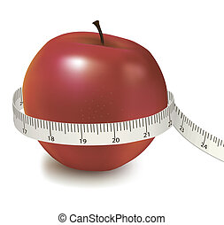 red apple measured the meter. Vector