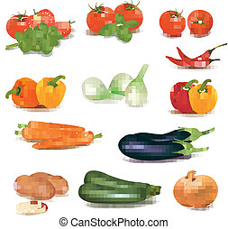 The big colorful group of vegetables Photo-realistic vector...