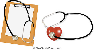 Stethoscope and blank clipboard with a sheet of white paper...