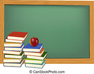 School books on the desk. Vector. - Back to school. Green...