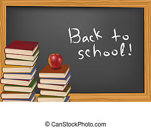 School books on the desk Vector - Some school supplies in...
