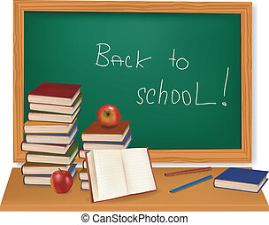 School books on the desk. Vector. - Some school supplies in...