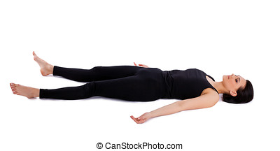 young woman relax after yoga - savasana pose isolated
