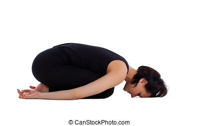 woman exercise yoga asana - child pose isolated