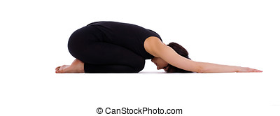 young woman doing yoga pose - child asana isolated