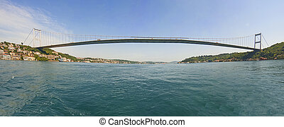Large suspension bridge over a river - Ataturk suspension...