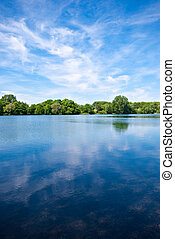 Lake and blue sky - Waves on a lake under a blue sky