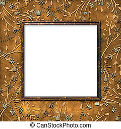 Wooden frame on the leafage ornamental background