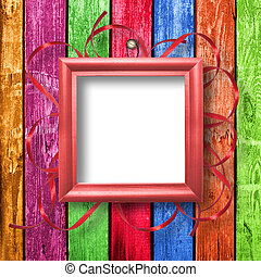 Wooden framework for portraiture on the abstract background...
