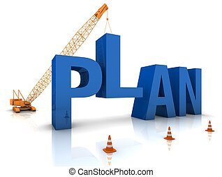 Developing a Plan - Construction site crane building a blue...