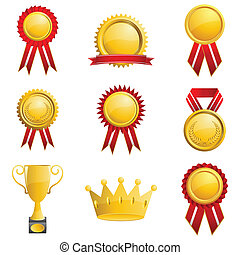 Set of Medal - illustration of medals on isolated white...