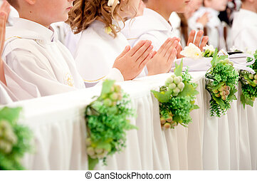 children accepting Holy Communion - children accepting the...