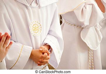 niños, aceptando, primero, santo, comunión
