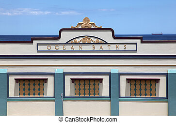 Newcastle Ocean Baths main facade - The main facade of the...