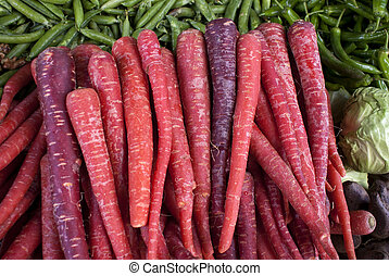 Indian red carrots as seen on Nagaur's market in Rajasthan....