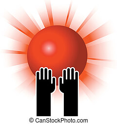 sun in hands - simple illustration of red sun in hands