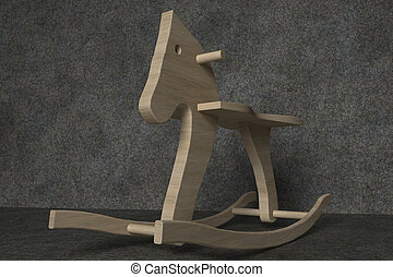 Rocking horse - Wooden rocking horse in a dark stone room in...