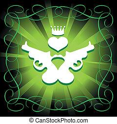 guns, heart and crown