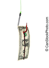 Fish hook and bloody dollar bill - A bloody fishing hook...