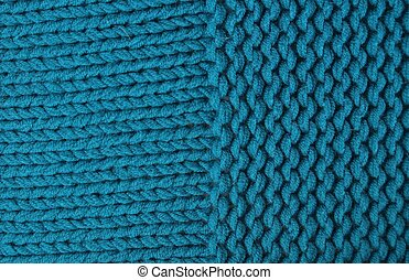 Knitted fabric in electric turquoise blue color in two...