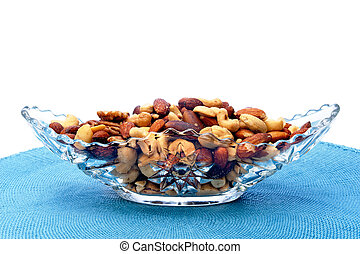 Dish of mixed nuts - A serving dish full of mixed nuts...